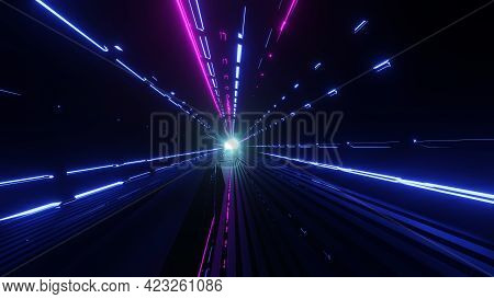 3d Rendering Of A Sci-fi Tunnel With Moving Light Abstract High-tech Tunnel