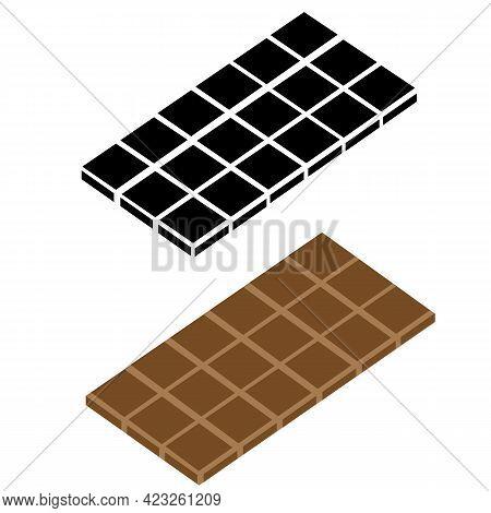 Chocolate Bar Icon On White Background. Chocolate Sign. Tasty Chocolate Bar. Flat Style.