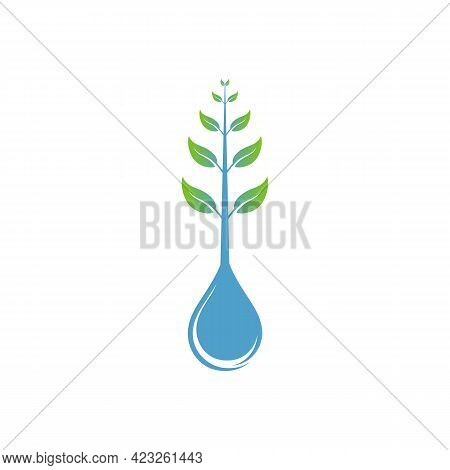 Illustration Vector Graphic Of Tree Logo Growing On Water Drops, Unique Design And Easy To Remember.