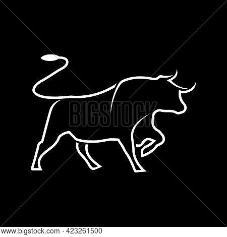 Illustration Vector Graphic Of Bull Logo With White Line Art