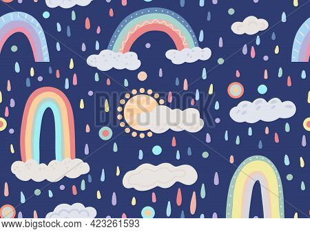 Children Cartoon Nature Pattern With Colorful Rain, Clouds, Rainbow And Sun On A Dark Blue Backgroun