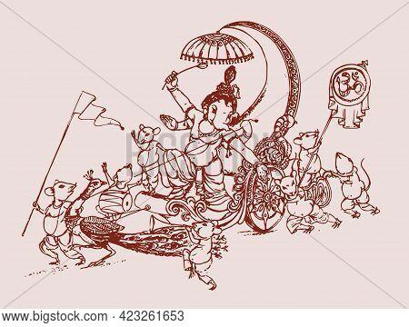Sketch Of Hindu God Lord Shiva Son Lord Ganesha Outline Editable Illustration