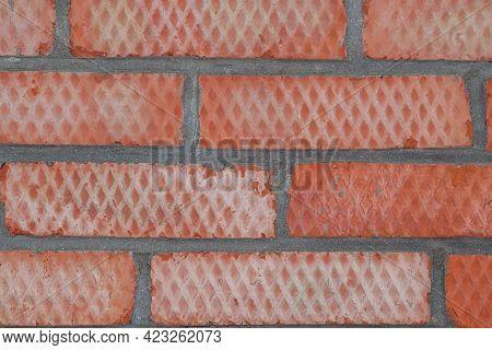 Masonry Of Red Building Bricks Close-up. Background Image