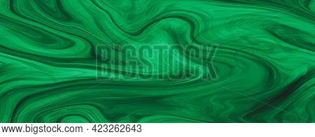 Color Glass Abstract Dark Green Glossy Textured Background. Liquid Marbling Ebru Seamless Texture In