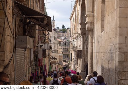 Jerusalem, Israel, September 10, 2018 - Street Sign Via Dolorosa In Jerusalem, The Holy Path Jesus W