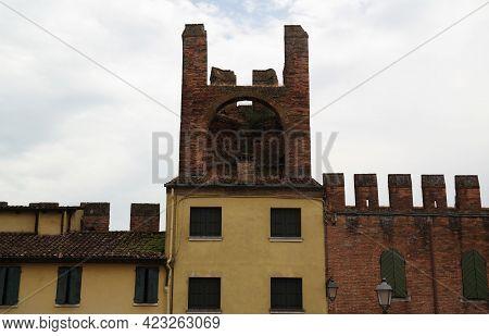 Medieval Defense Walls Of Montagnana Fortress, Padua, Italy