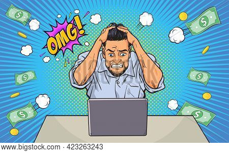 Failed And Stressed Businessman Lost Money From Work On The Computer. He Put Hands On The Head And O