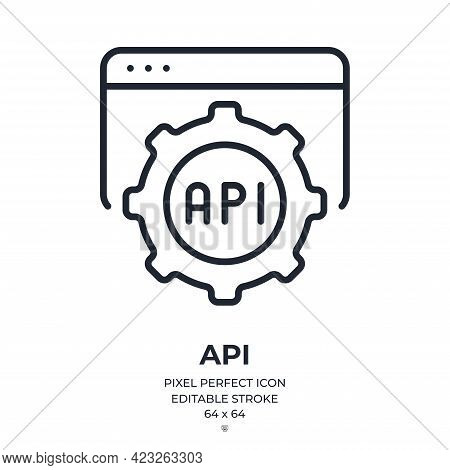 Api Application Programming Interface Concept Editable Stroke Outline Icon Isolated On White Backgro