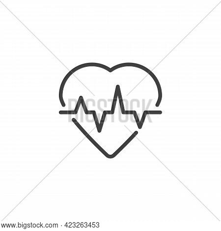 Heartbeat Line Icon. Linear Style Sign For Mobile Concept And Web Design. Heart And Pulse Outline Ve
