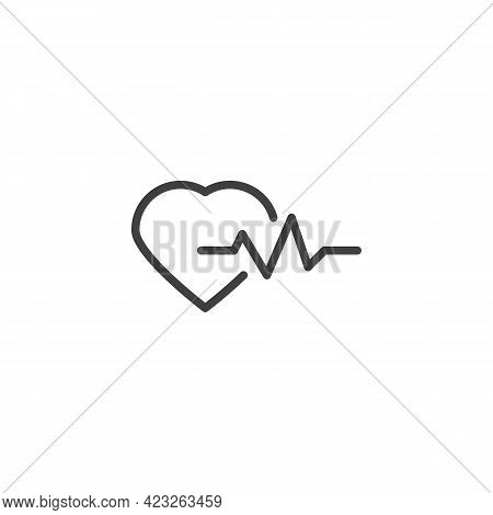 Heart Beat Pulse Line Icon. Linear Style Sign For Mobile Concept And Web Design. Heartbeat Outline V