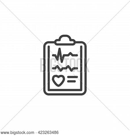Cardiology Report Line Icon. Linear Style Sign For Mobile Concept And Web Design. Heart Health Check
