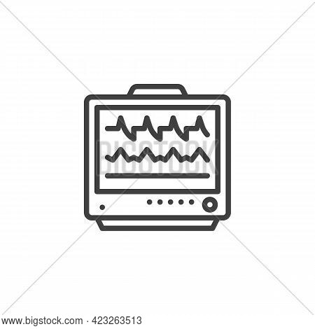 Ecg Monitor Line Icon. Linear Style Sign For Mobile Concept And Web Design. Heart Rate Monitor Outli