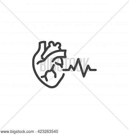 Human Heart Beat Line Icon. Linear Style Sign For Mobile Concept And Web Design. Heart Healthcare Ou