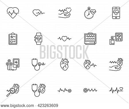 Cardiology Line Icons Set. Heart Rate Linear Style Symbols Collection, Outline Signs Pack. Medical H