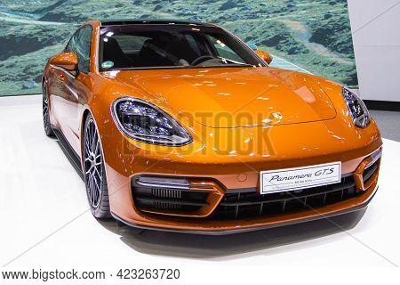 Bangkok - Dec 2, 2020  Car Show Porsche Panamera 4s  At Auto Shows And Other Exhibitions (big Motor