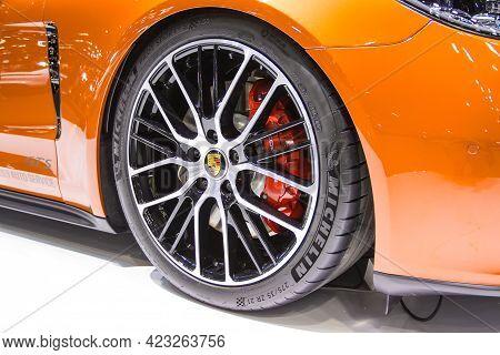 Bangkok - Dec 2, 2020  Car Show Porsche Panamera 4s  At Auto Shows And Other Exhibitions Selective F