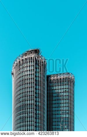 Madrid, Spain - 30 August 2020: Modern Office Building In Azca Financial District. Europa Tower
