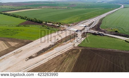 Aerial View Of Highway Construction Site. Overpass, Highway Intersection.