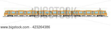 Detailed Underground Train Car Isolated. Subway Railway Car On White. Modern Urban Metro. Passenger