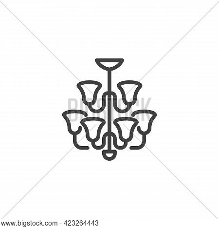 Chandelier Lamp Line Icon. Linear Style Sign For Mobile Concept And Web Design. Ceiling Lamp Outline