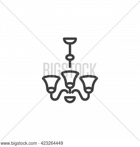 Ceiling Lamp Line Icon. Linear Style Sign For Mobile Concept And Web Design. Chandelier Lamp Outline