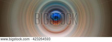 Abstract Round Orange Background. Circles From The Center Point. Image Of Diverging Circles. Rotatio