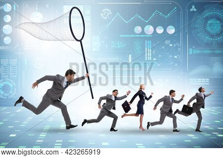 Headhunting and retention concept with business people