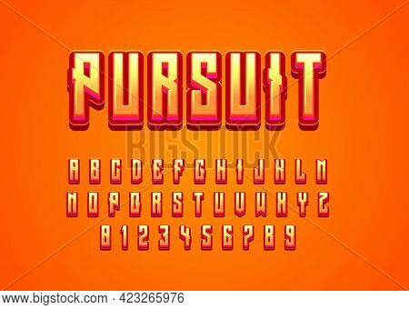 Pursuit 3d Orange Game Logo Text Effect. Set Of Vector Alphabet And Number With Playful Style For Ga