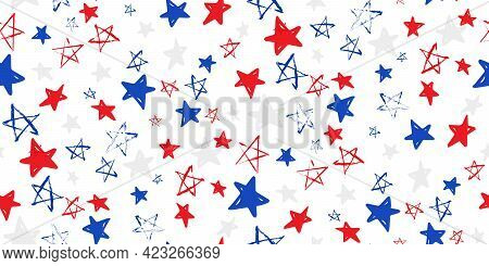 Horizontal Seamless Pattern With Blue, Red, White Stars Of Celebration Usa Independence Day, Memoria