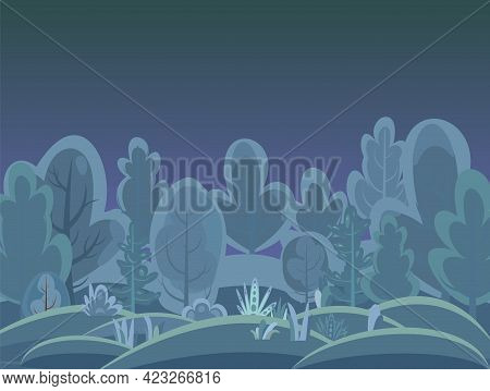 Flat Forest. Night Landscape With Trees.hills. Illustration In A Simple Symbolic Style. A Funny Gree