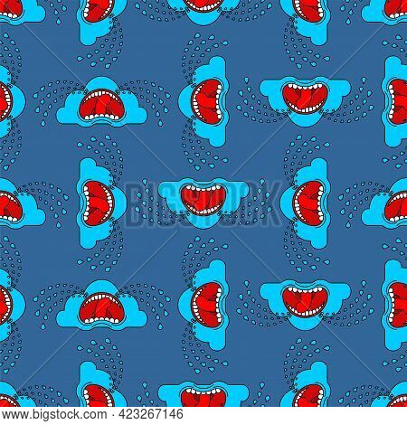 Crying Cloud Pattern Seamless. Cloud Is Crying Like Rain Background. Vector Texture