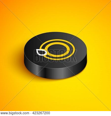 Isometric Line Washing Dishes Icon Isolated On Yellow Background. Plate And Sponge. Cleaning Dishes
