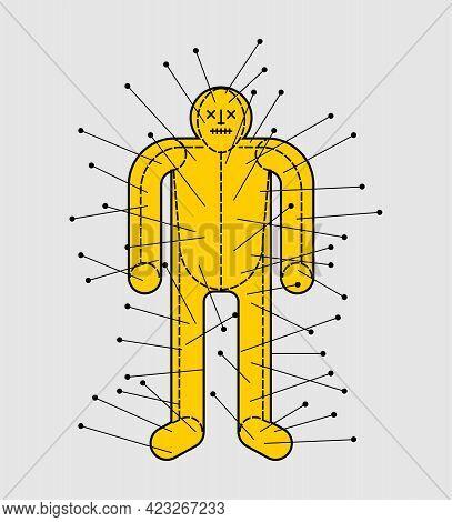 Voodoo Doll. Figurine Of Man Pierced With Needles