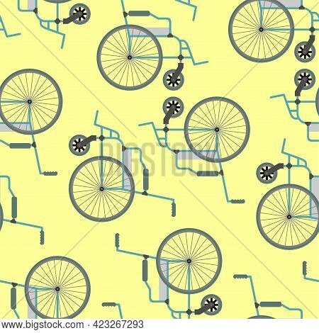 Disabled Carriage Pattern Seamless. Vehicle For Disabled Person Background. Vector Texture