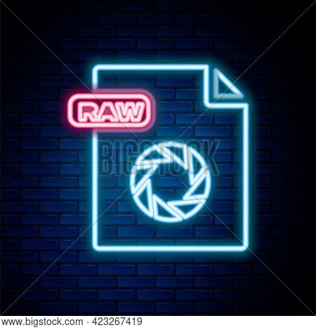 Glowing Neon Line Raw File Document. Download Raw Button Icon Isolated On Brick Wall Background. Raw