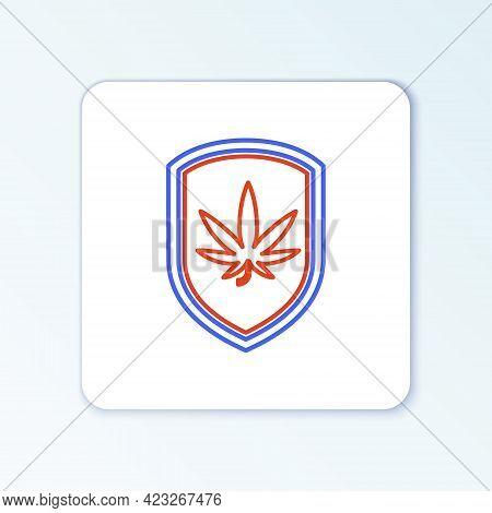 Line Shield And Marijuana Or Cannabis Leaf Icon Isolated On White Background. Marijuana Legalization
