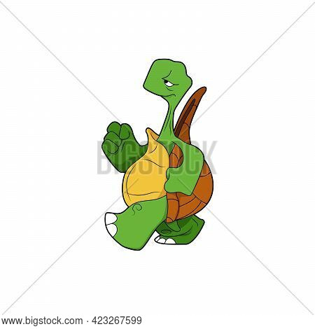 Cartoon Character. The Turtle Goes Forward. Isolated On White Background. Animal Theme.