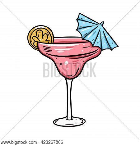 Pink Margarita Cocktail. Hand Drawn Line Art Cartoon Style. Colorful Vector Illustration.