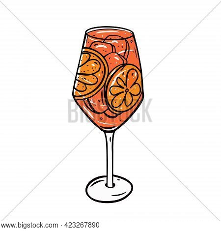 Aperol Spritz Cocktail. Hand Drawn Colorful Outline Style. Vector Illustration.