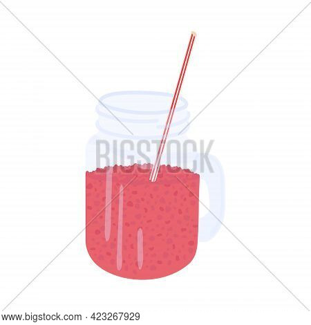 Glass Jar Of Red Juice With Handle Isolated On White Background. Organic Detox Drink In A Jar. Red B