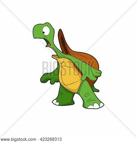 Cartoon Character. Surprised Turtle. Isolated On White Background. Animal Theme.