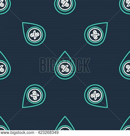 Line Water Drop Percentage Icon Isolated Seamless Pattern On Black Background. Humidity Analysis. Ve