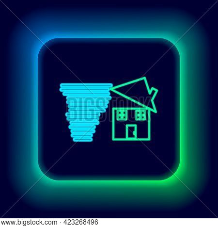 Glowing Neon Line Tornado Swirl Damages House Roof Icon Isolated On Black Background. Cyclone, Whirl