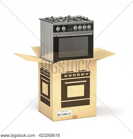 Gas cooker in cardboard box isolated on white. Household kitchen appliances   purchasing online concept. 3d illustration