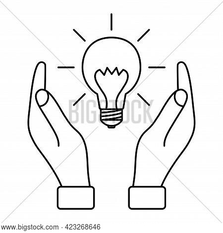 Light Bulb With Rays Between Two Hands. Concept Of Ideas, Inspiration, Effective Thinking. Environme