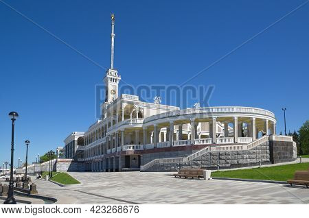 Moscow, Russia - June 3, 2021: The Building Of The Northern River Station And The Updated Embankment