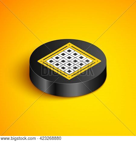 Isometric Line Checkered Napkin Icon Isolated On Yellow Background. Black Circle Button. Vector