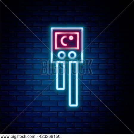 Glowing Neon Line Temperature And Humidity Sensor Icon Isolated On Brick Wall Background. Colorful O