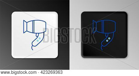 Line Hair Dryer Icon Isolated On Grey Background. Hairdryer Sign. Hair Drying Symbol. Blowing Hot Ai