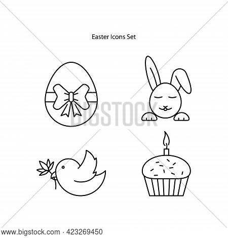 Easter Icons Set Isolated On White Background. Easter Egg Icon Thin Line Outline Linear Easter Egg S